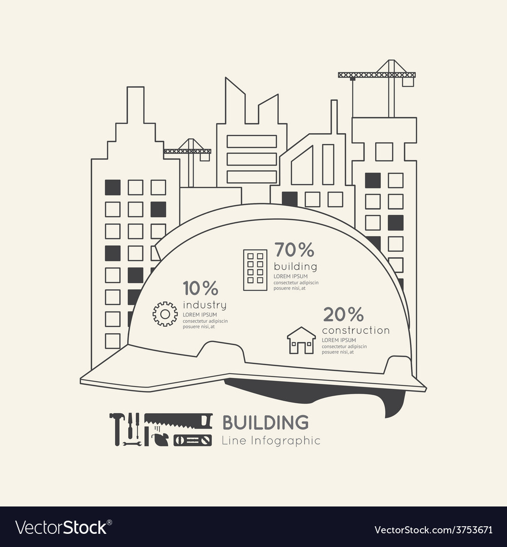 Flat linear infographic construction helmet vector
