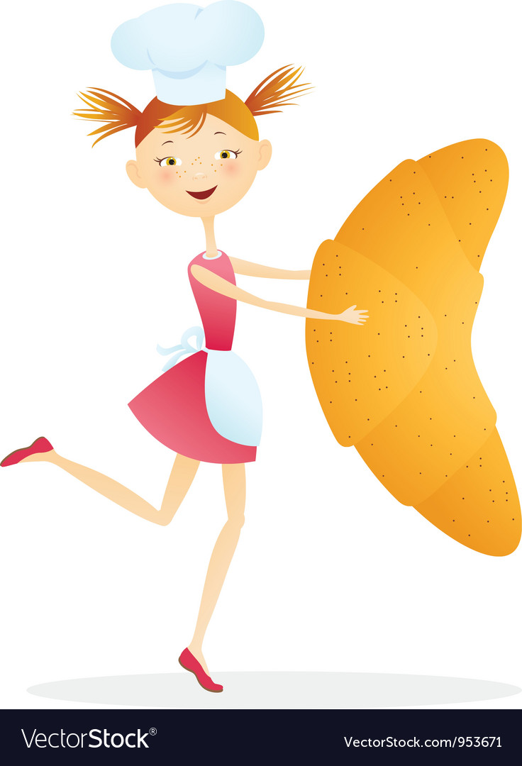 Girl cook with croissants vector | Price: 3 Credit (USD $3)