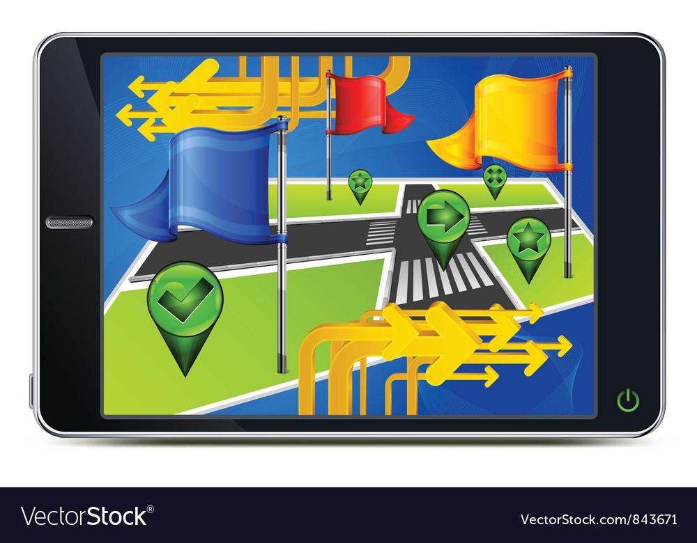 Gps navigator road flag symbol vector | Price: 3 Credit (USD $3)