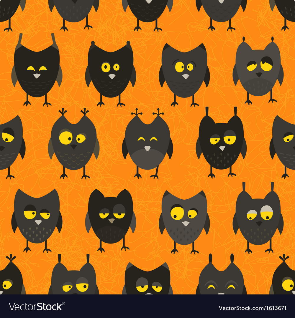 Halloween owl seamless background vector | Price: 1 Credit (USD $1)