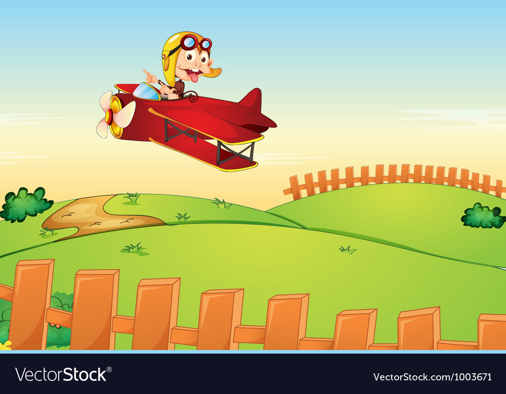 Monkey flying an aircraft vector | Price: 3 Credit (USD $3)
