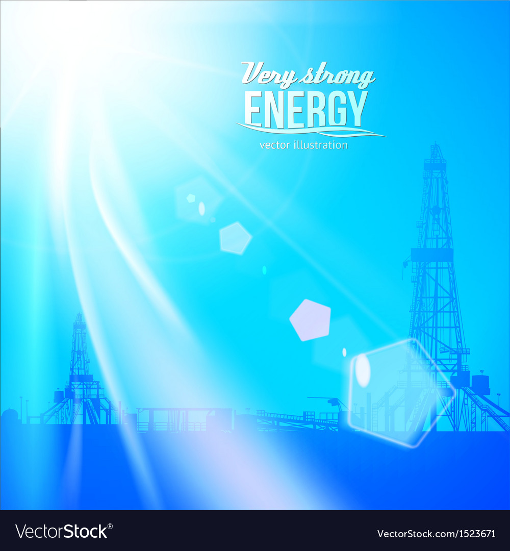 Oil rig silhouettes and blue sky vector | Price: 1 Credit (USD $1)