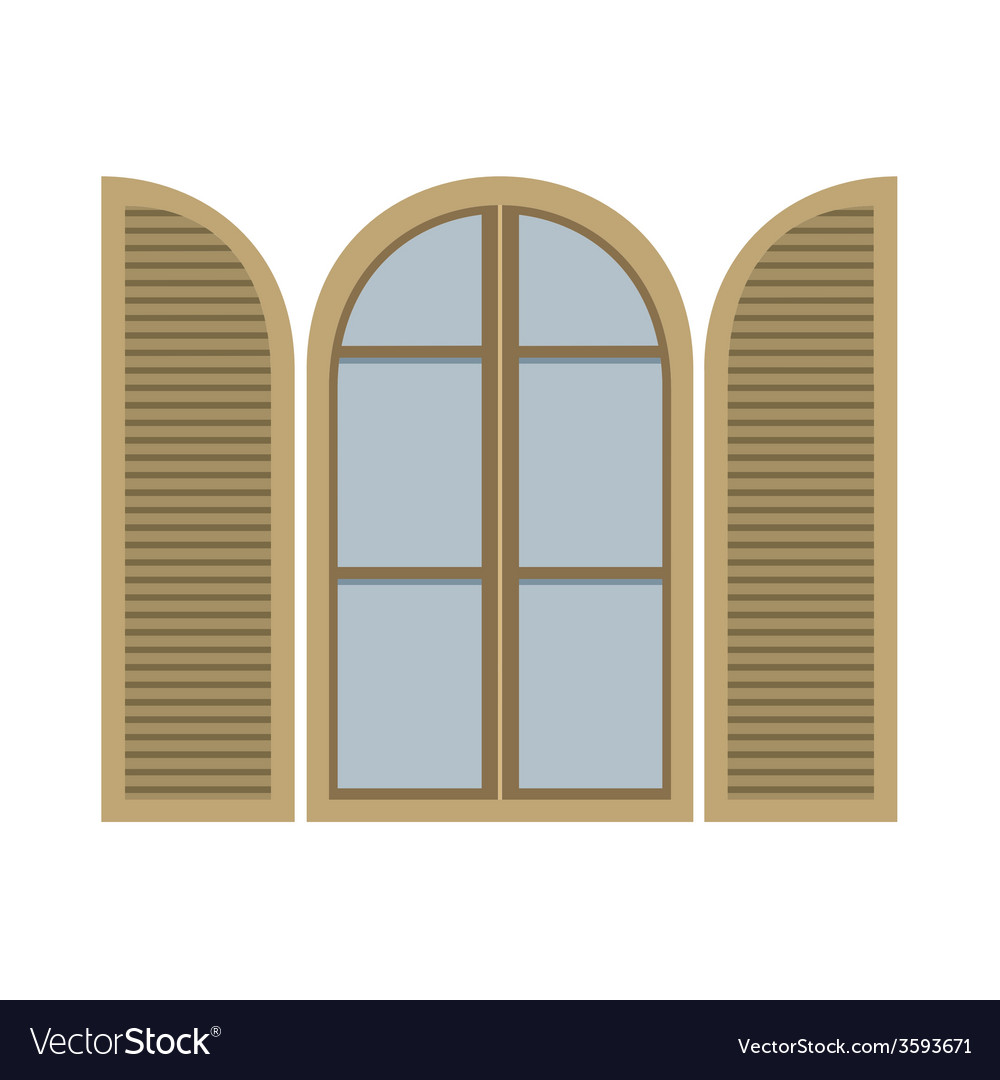 Open vintage arc window isolated on white vector | Price: 1 Credit (USD $1)