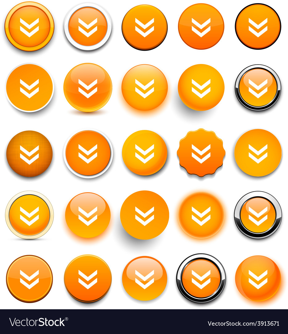 Round orange download icons vector | Price: 1 Credit (USD $1)