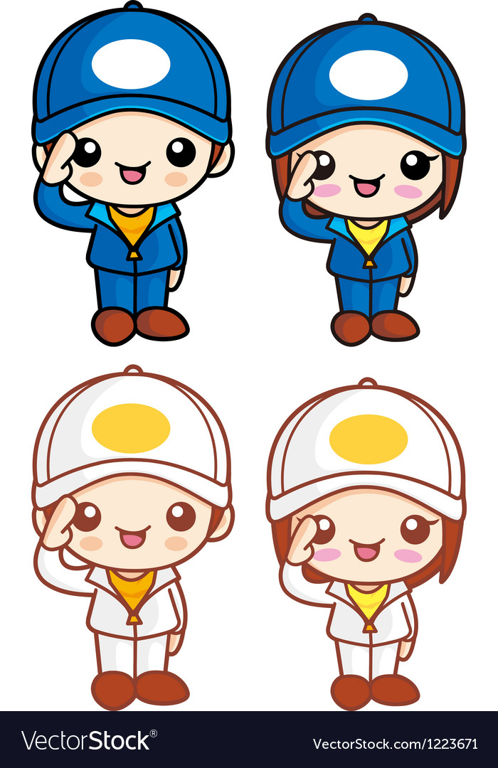 Salute to the boy and girl character mascot vector | Price: 3 Credit (USD $3)