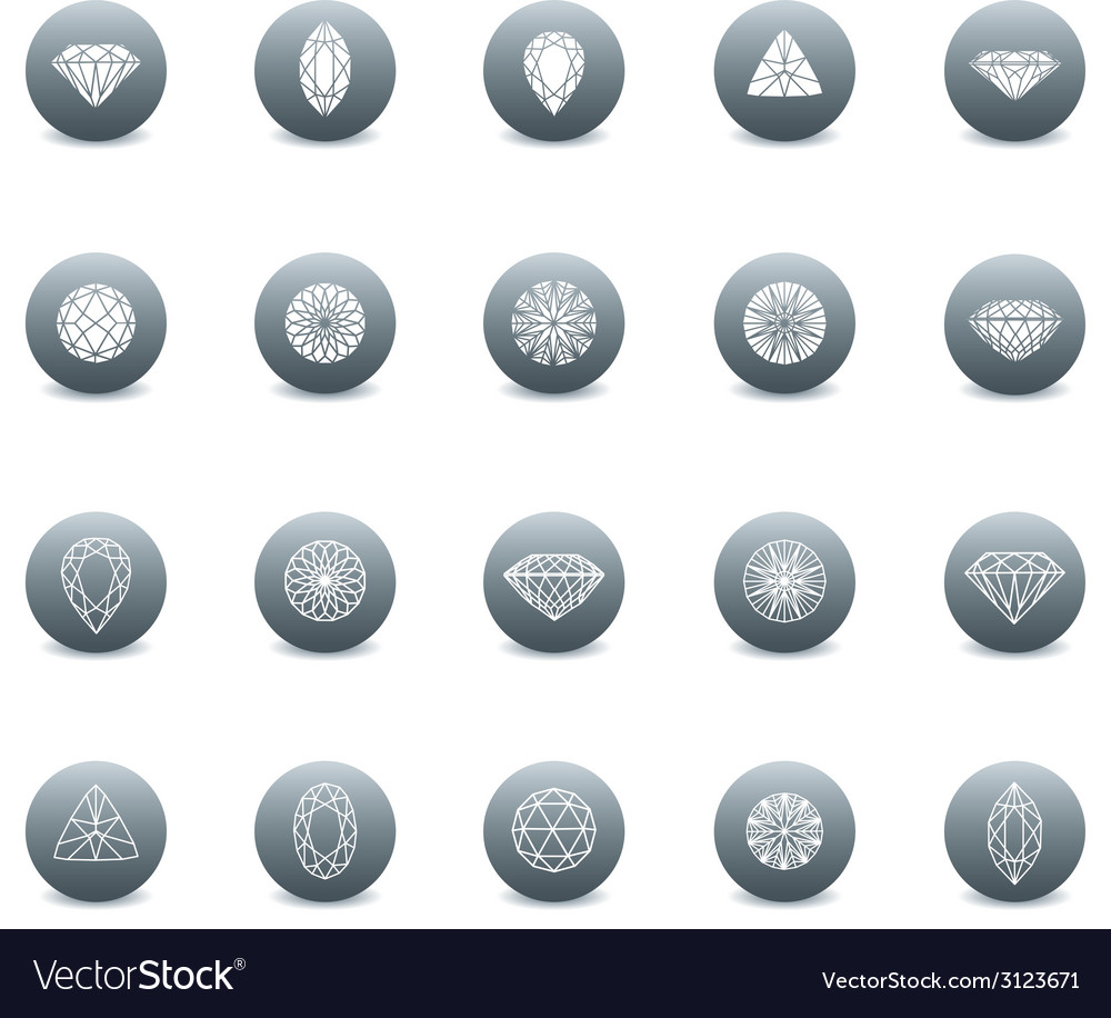 Set diamond new icons 3 vector | Price: 1 Credit (USD $1)