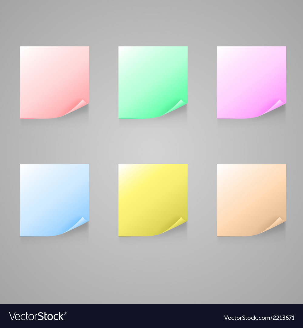 Set of color stick note vector | Price: 1 Credit (USD $1)
