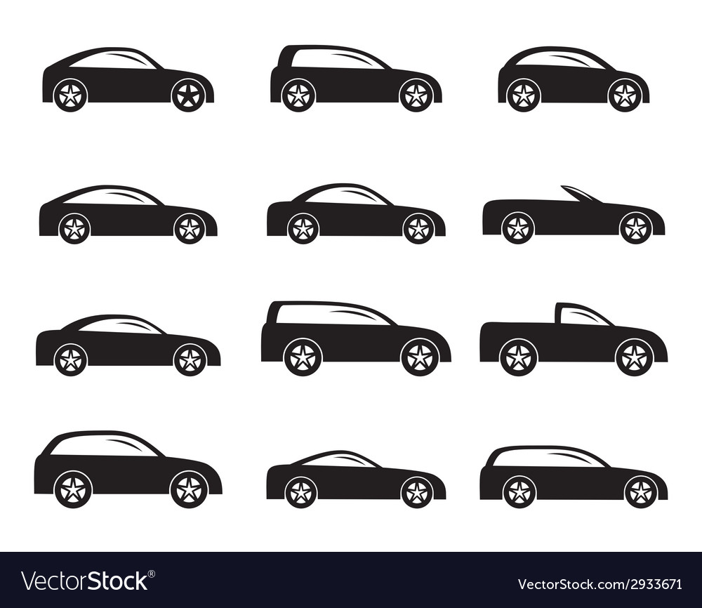 Silhouette different types of cars icons vector | Price: 1 Credit (USD $1)