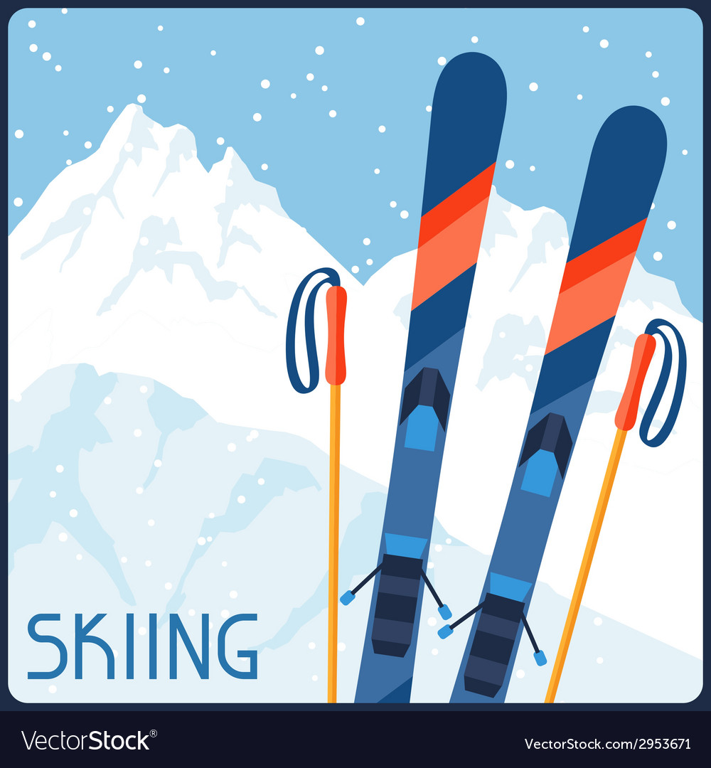 Skiing equipment on background of mountain winter vector | Price: 1 Credit (USD $1)