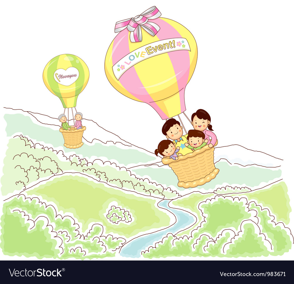 Travel sky happy family vector | Price: 3 Credit (USD $3)