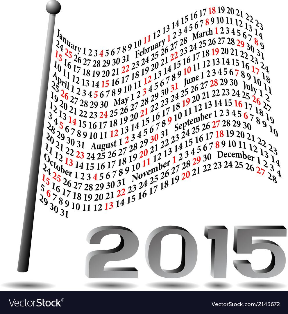 2015 flag calendar vector | Price: 1 Credit (USD $1)