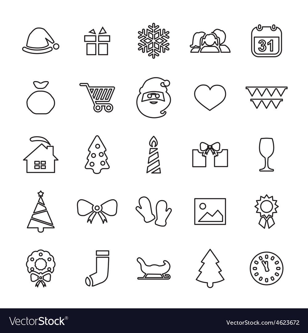 25 outline universal new year and christmas icons vector | Price: 1 Credit (USD $1)