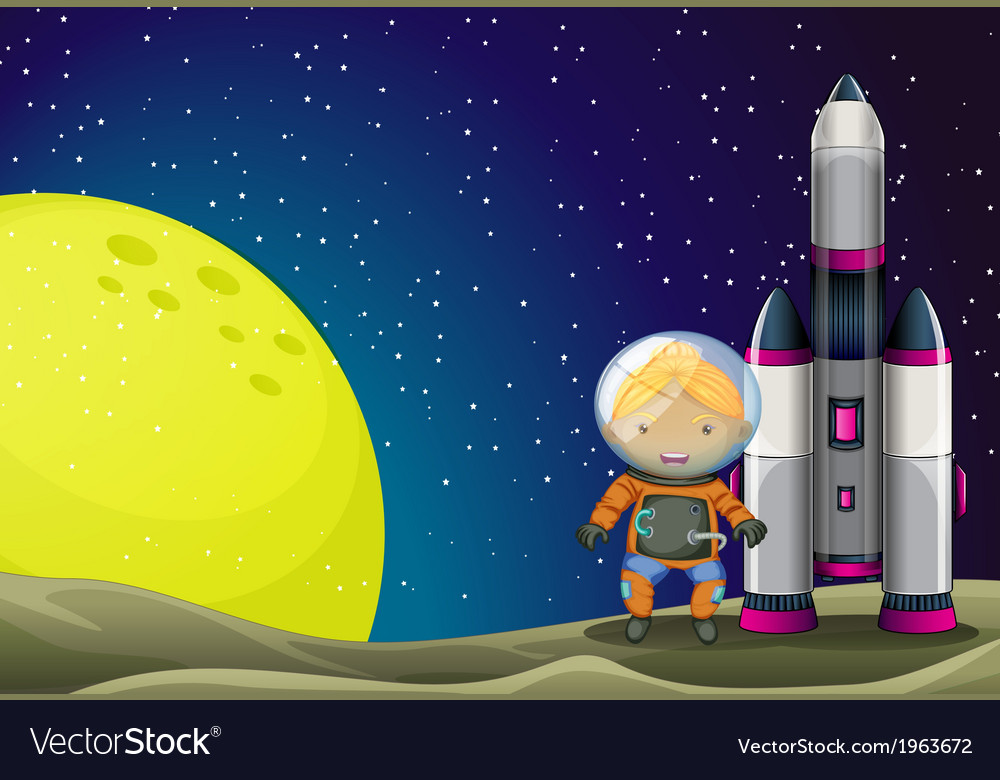 An astronaut standing beside the rocket near the vector | Price: 3 Credit (USD $3)