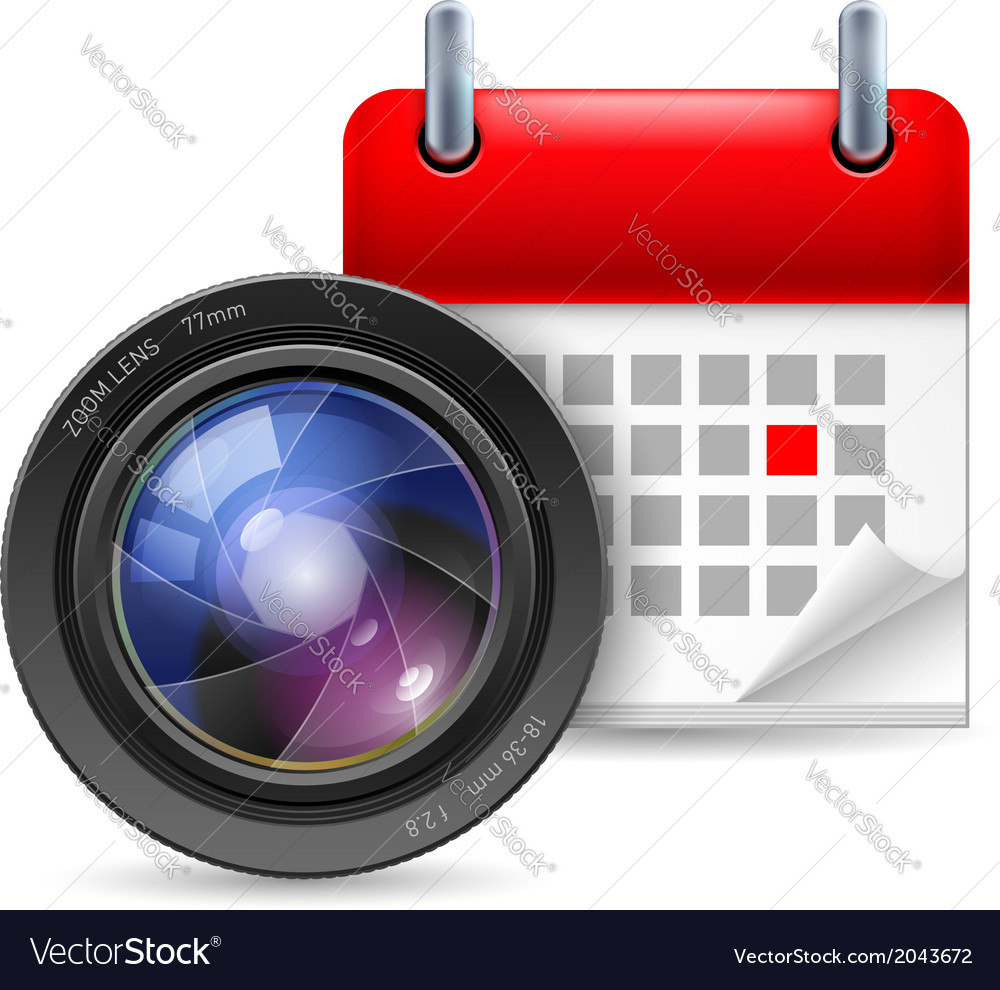 Camera lens and calendar vector | Price: 1 Credit (USD $1)
