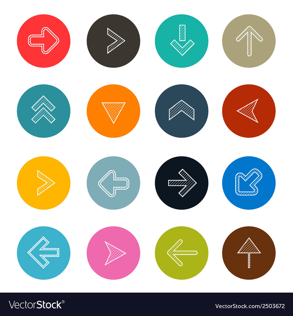Colorful hatched arrows set in circles vector | Price: 1 Credit (USD $1)