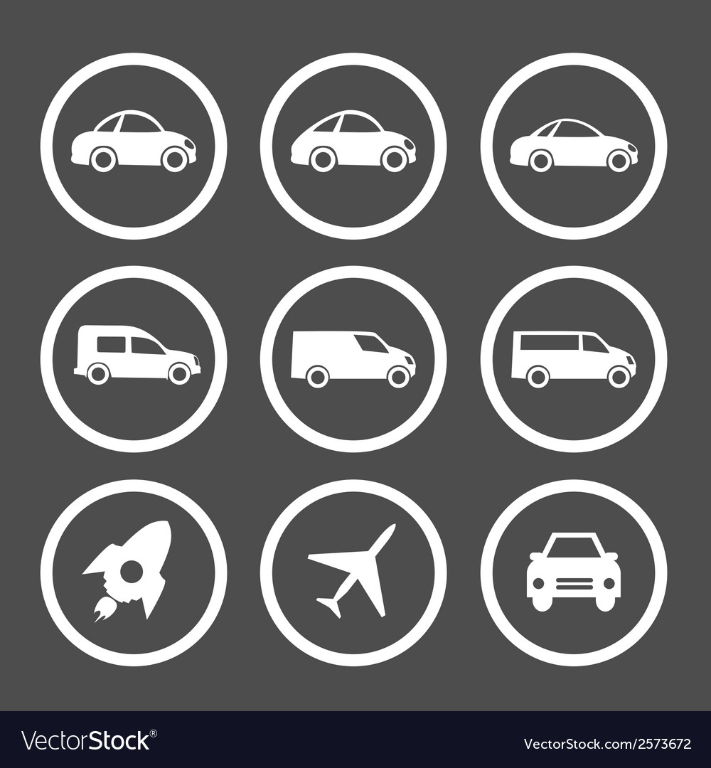 Flat car icons set vector | Price: 1 Credit (USD $1)