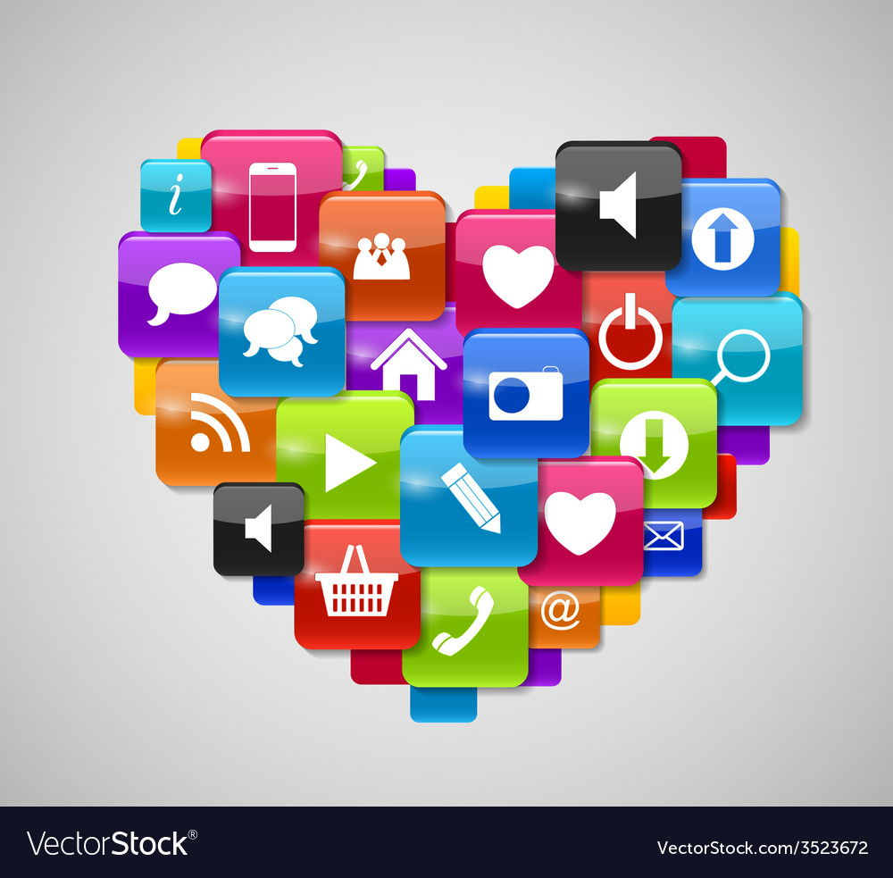 Glass button icon set in heart form vector | Price: 1 Credit (USD $1)