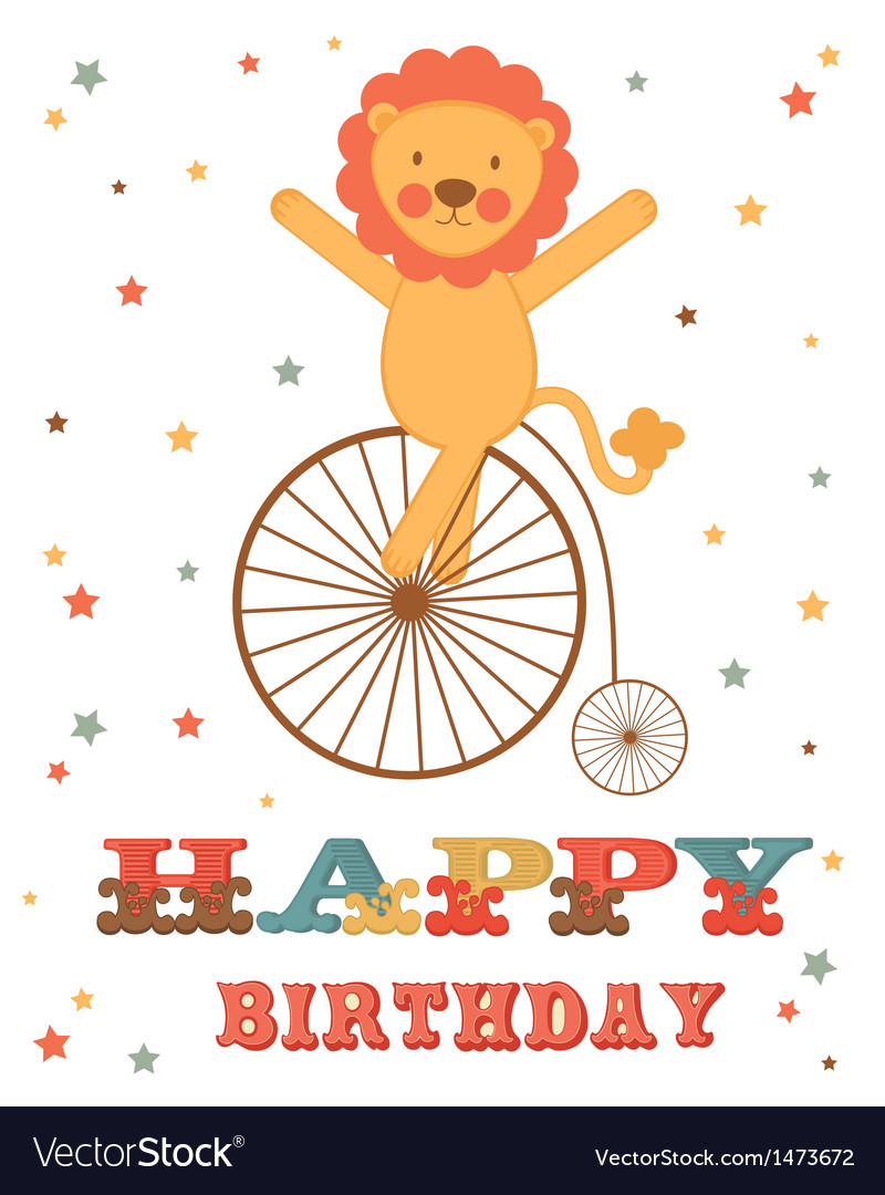 Lion birthday card vector | Price: 1 Credit (USD $1)