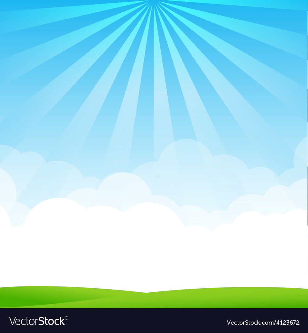 Nature blue sky sunburst copy space and greenfiel vector   Price: 1 Credit (USD $1)