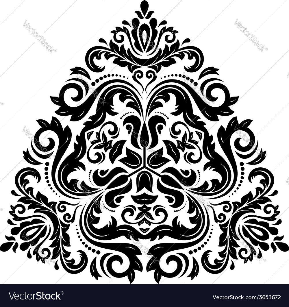 Orient pattern abstract ornament black and white vector | Price: 1 Credit (USD $1)