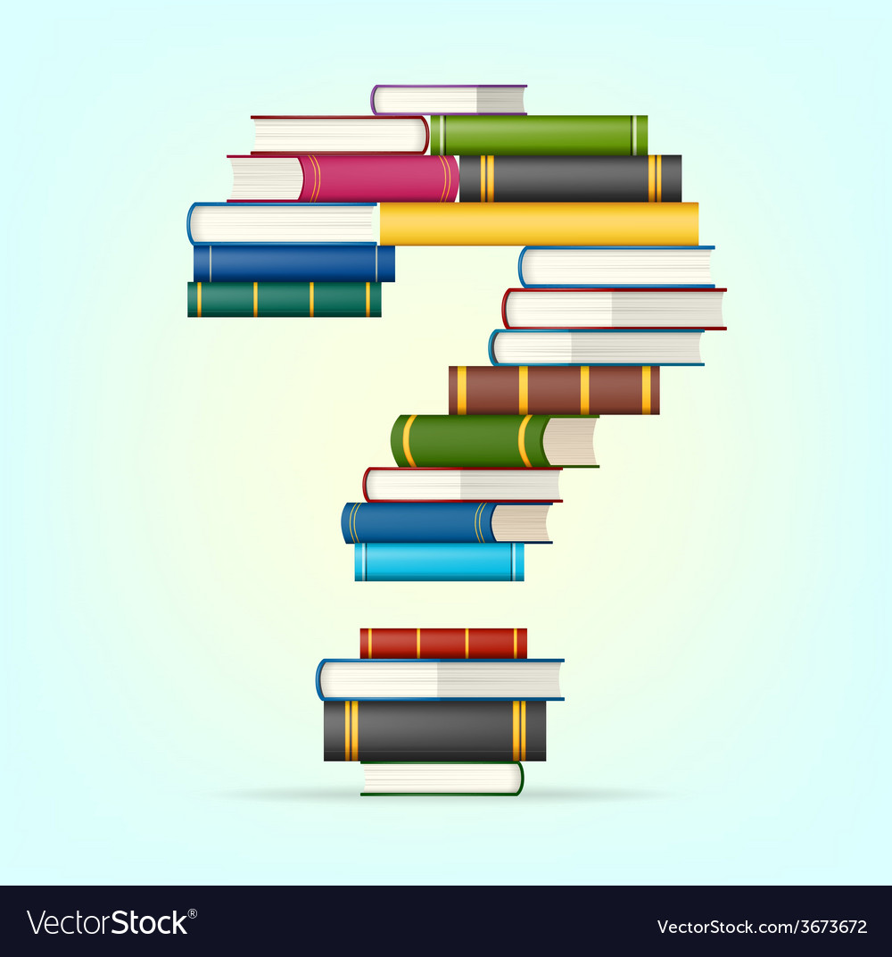 Question from stacks of multi colored books vector | Price: 1 Credit (USD $1)
