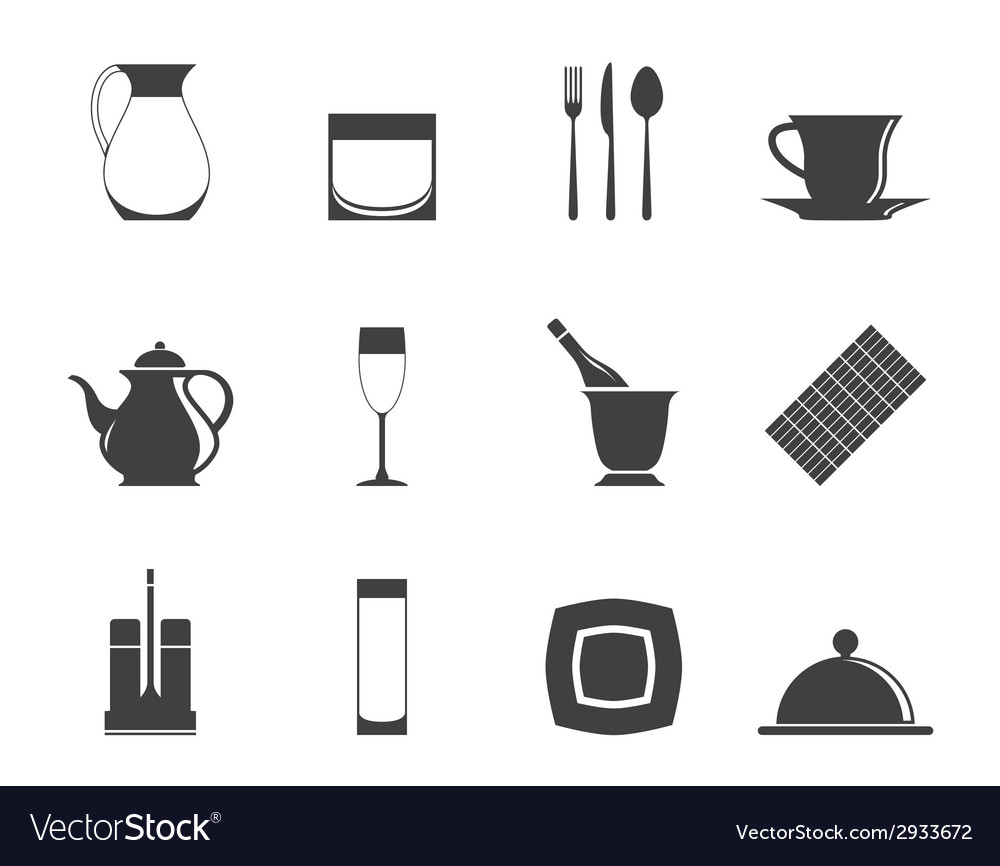 Silhouette restaurant and bar icons vector | Price: 1 Credit (USD $1)
