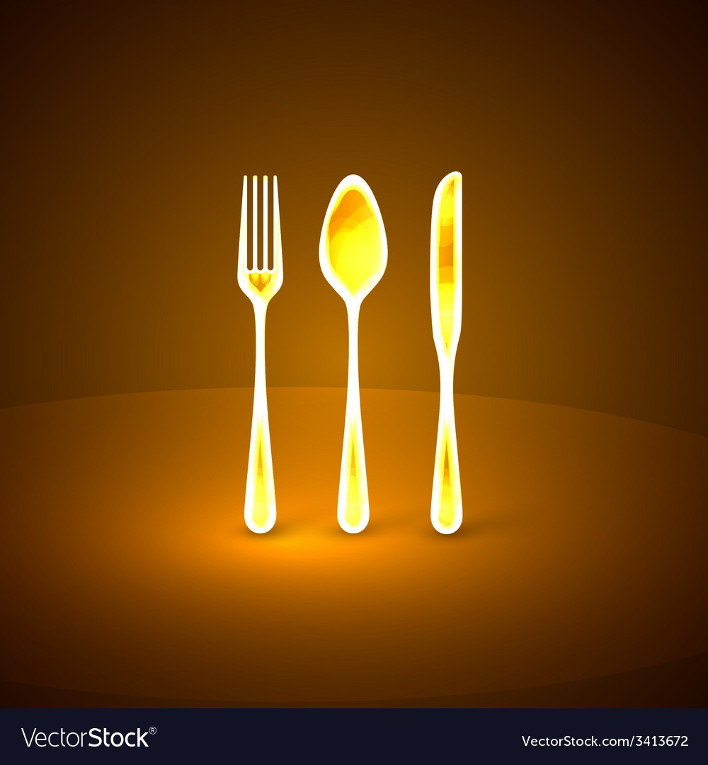 With golden plate knife and fork vector | Price: 1 Credit (USD $1)