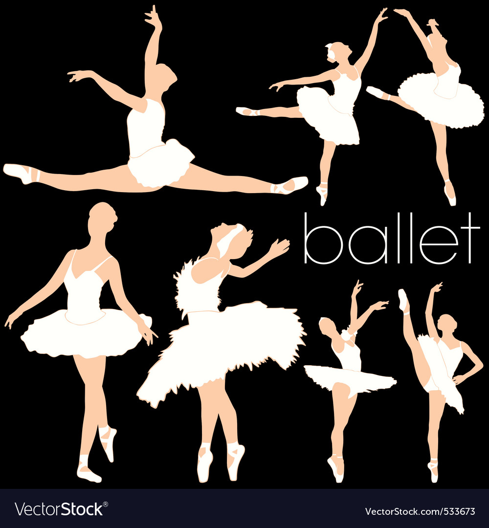 Ballet silhouettes set vector | Price: 1 Credit (USD $1)