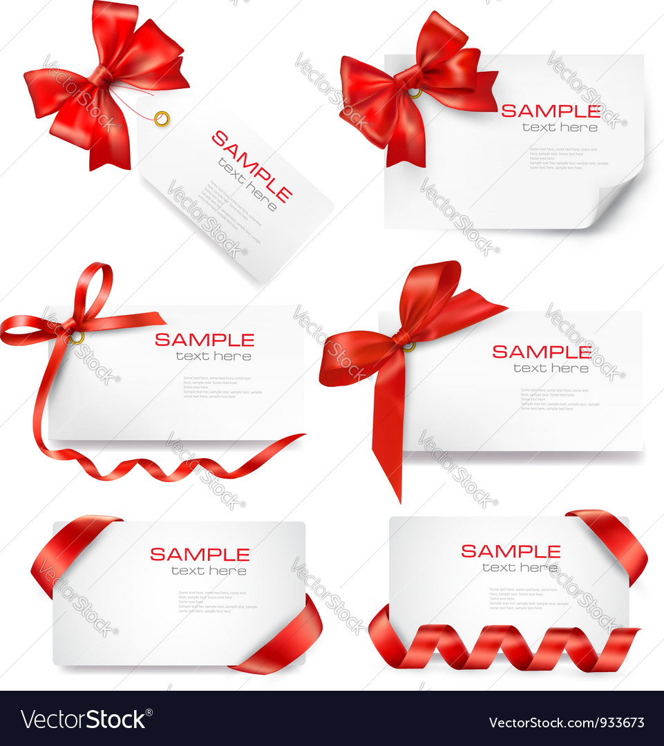 Big set of cards with red bows and ribbons vector | Price: 3 Credit (USD $3)