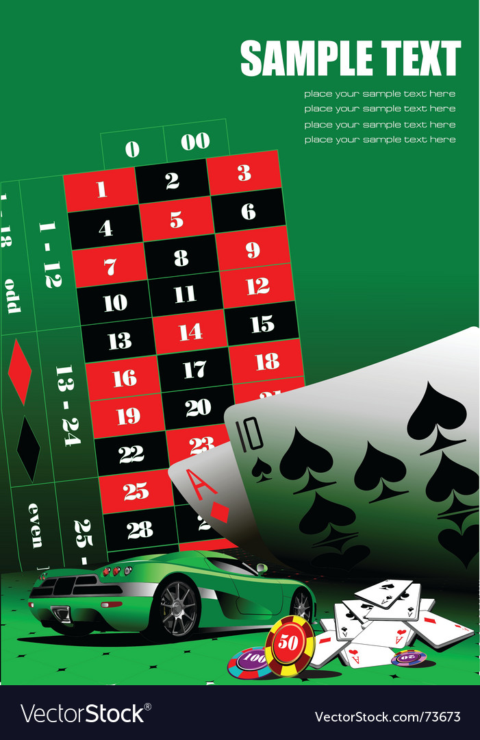 Casino elements with sport car vector | Price: 1 Credit (USD $1)