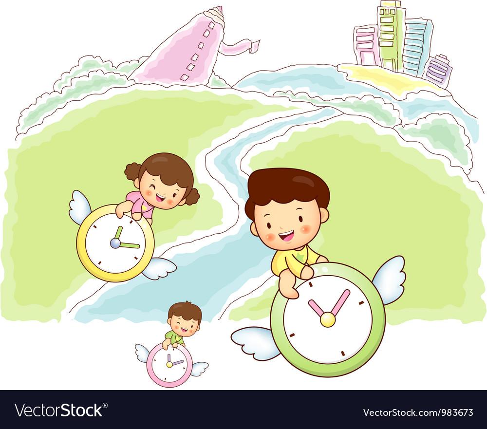 Children time travel vector | Price: 3 Credit (USD $3)