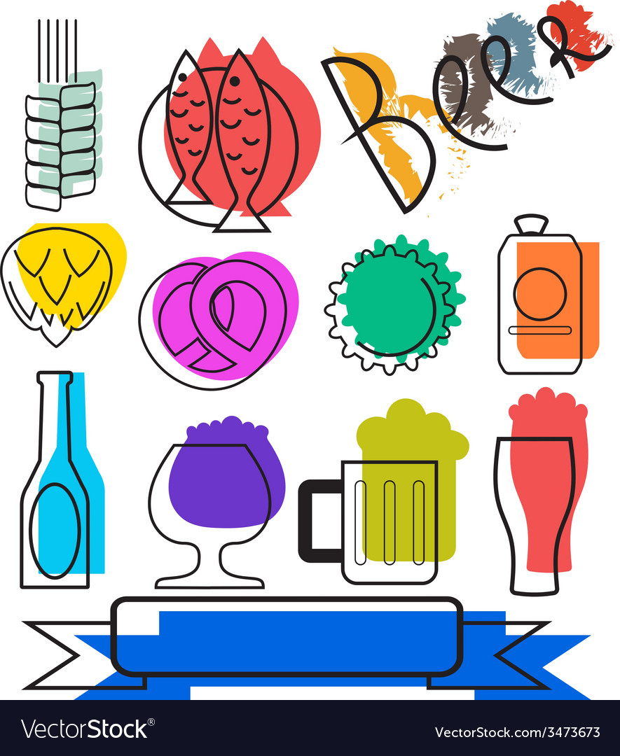 Colorful beertime icons vector | Price: 1 Credit (USD $1)