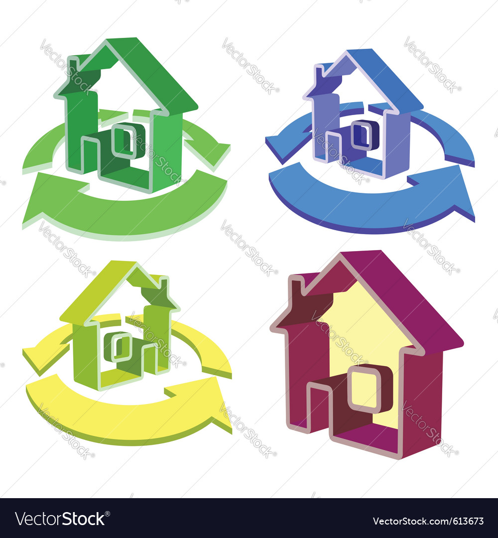House recycle icons vector | Price: 1 Credit (USD $1)