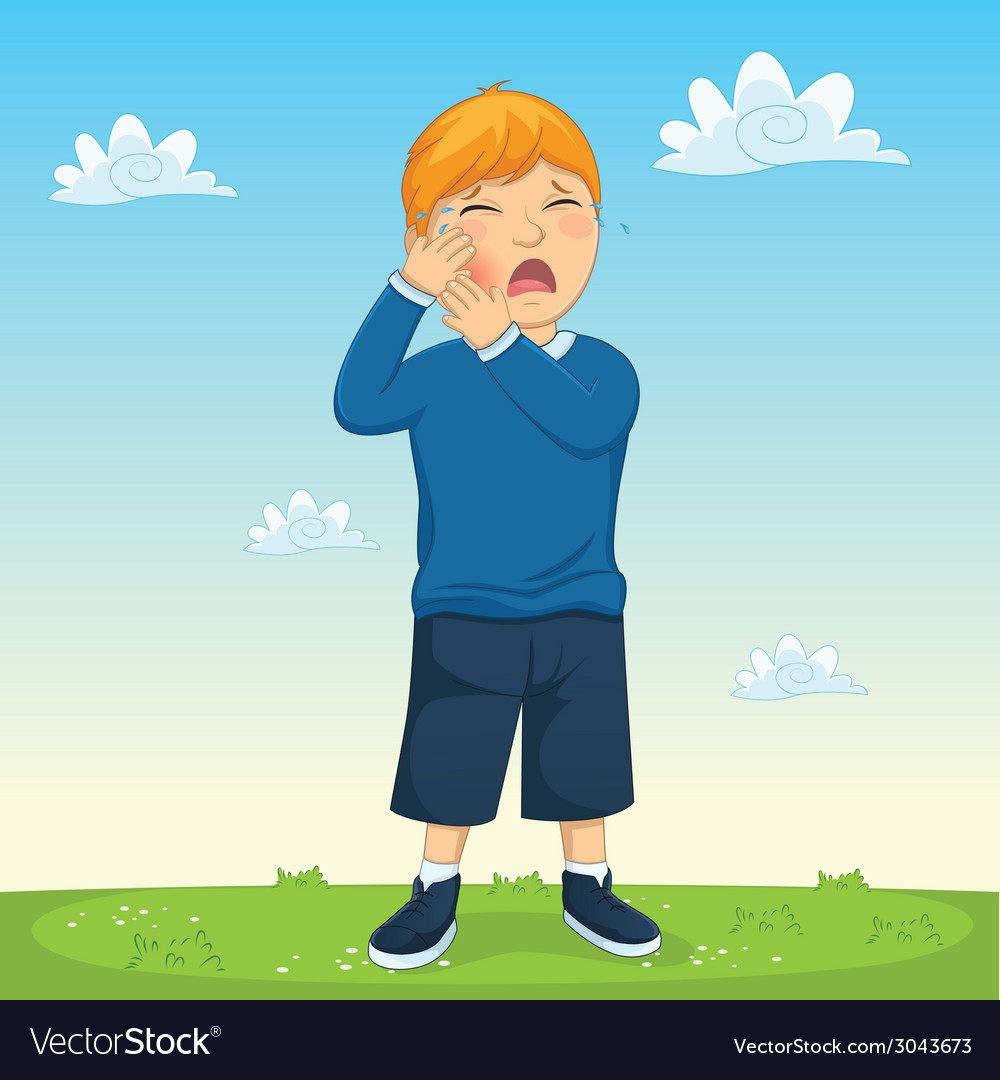 Kid tooth pain vector | Price: 1 Credit (USD $1)