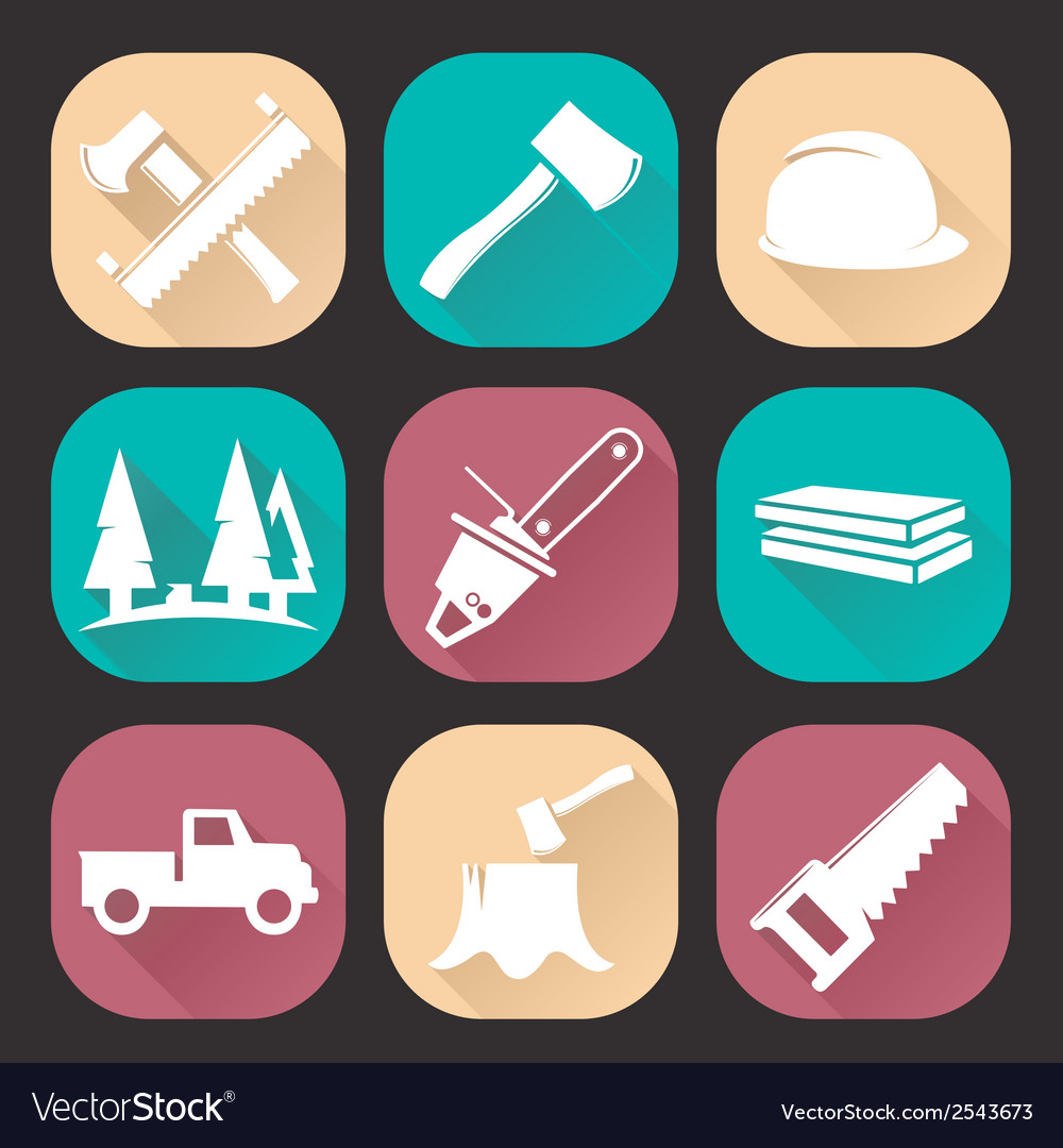 Lumberjack woodcutter icons set vector | Price: 1 Credit (USD $1)