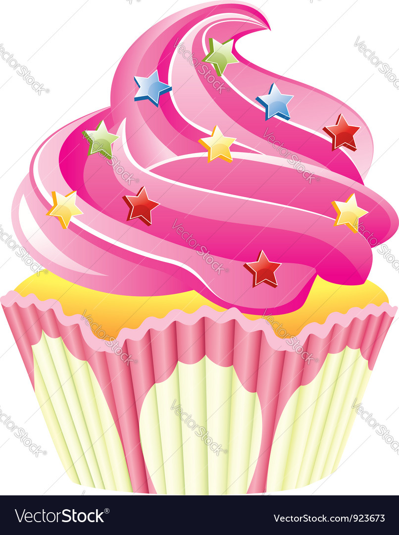 Pink cupcake vector | Price: 3 Credit (USD $3)
