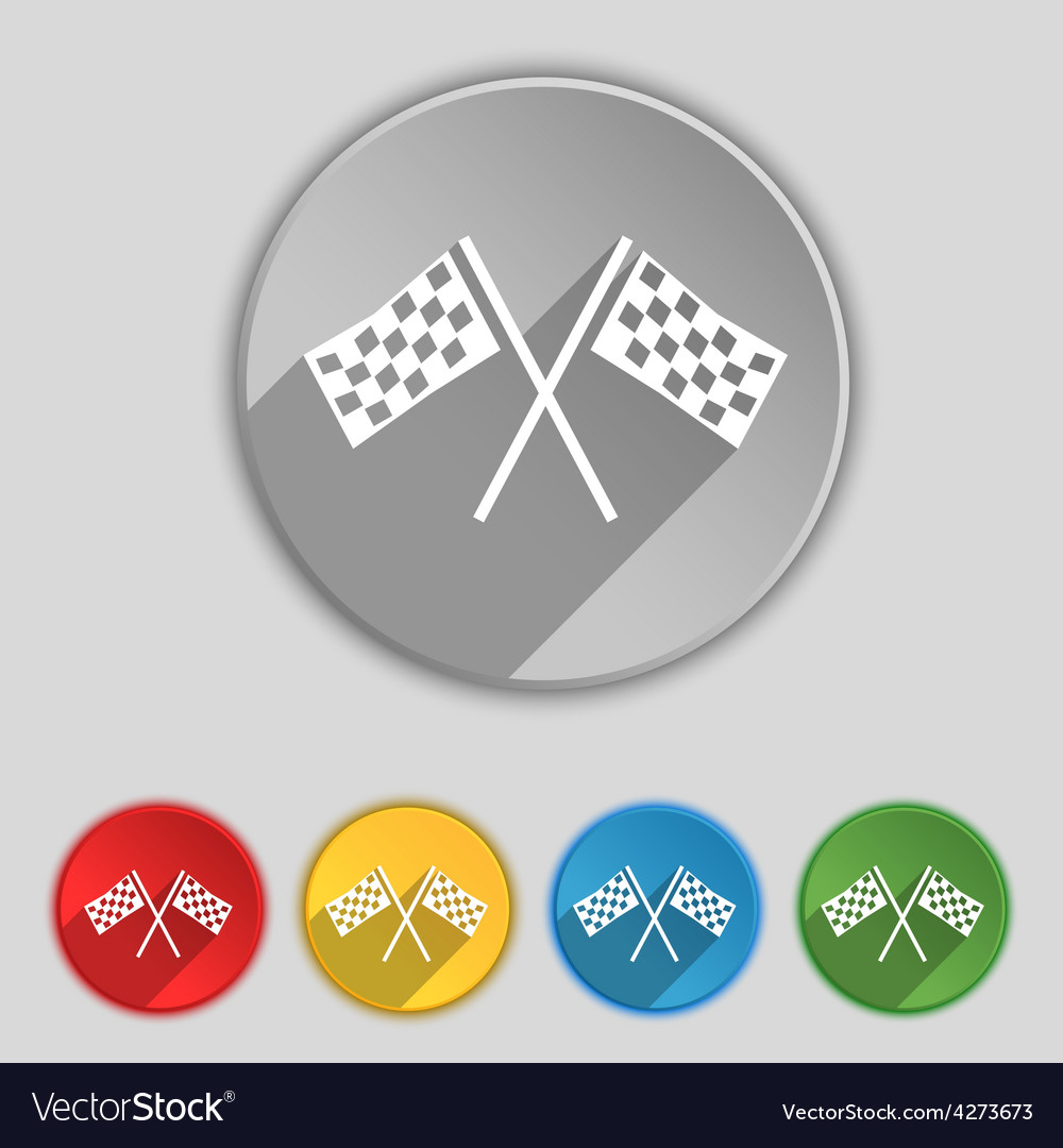 Race flag finish icon sign symbol on five flat vector | Price: 1 Credit (USD $1)