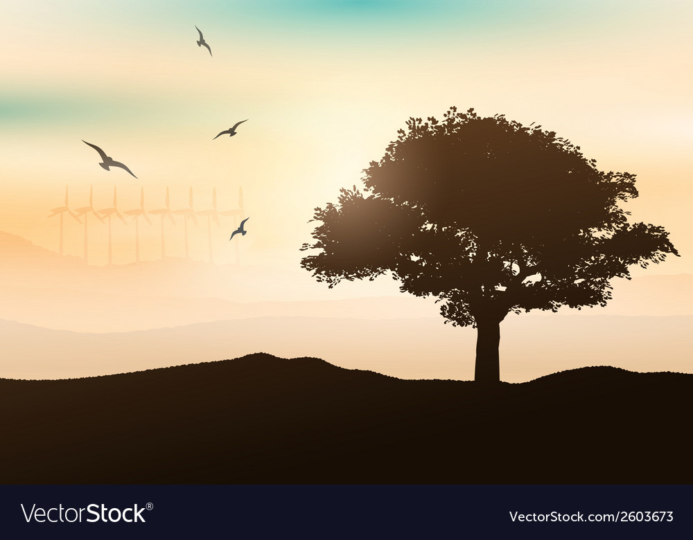Sunset tree background 0205 vector | Price: 1 Credit (USD $1)