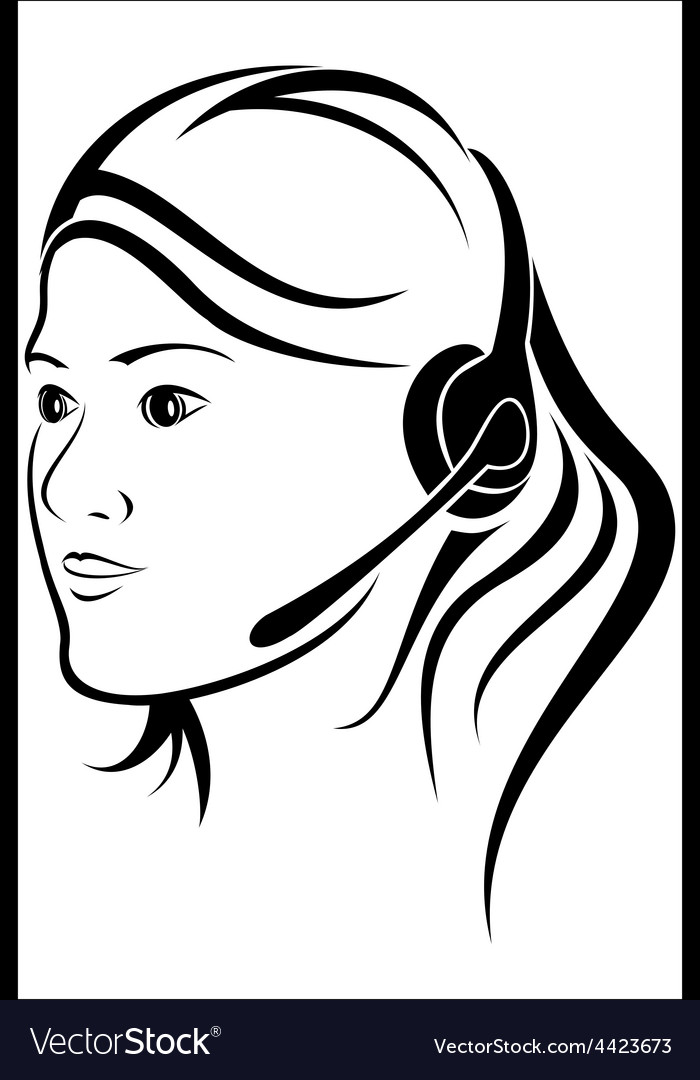 Woman with headset in callcenter vector | Price: 1 Credit (USD $1)