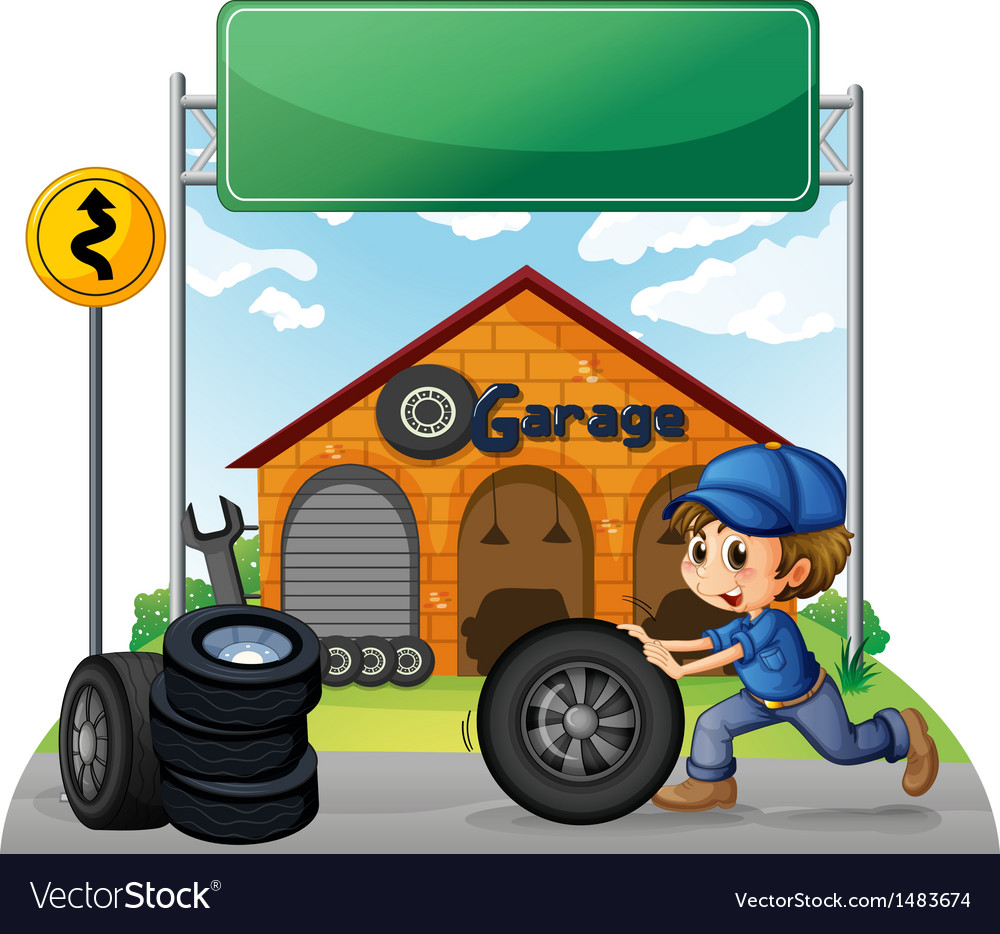 A boy pushing the tire below the empty signboard vector | Price: 1 Credit (USD $1)