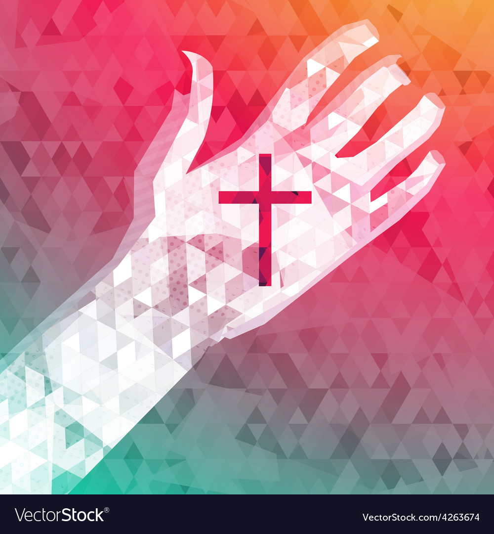 Abstract background left hand with christian cross vector | Price: 1 Credit (USD $1)