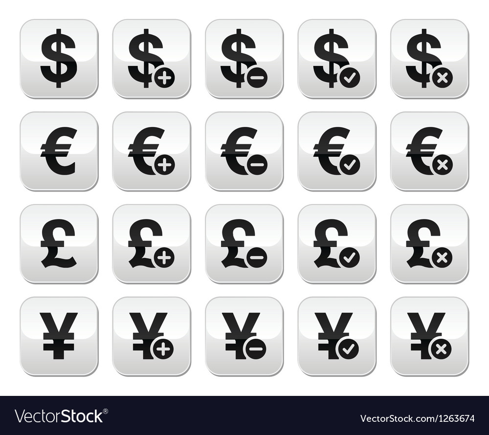 Currency buttons set - dollar euro yen pound vector | Price: 1 Credit (USD $1)