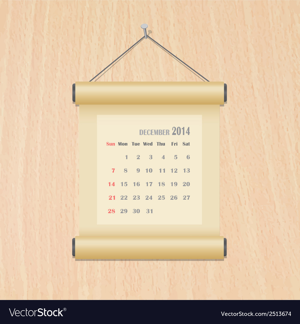 December2014 calendar on wood wall vector | Price: 1 Credit (USD $1)