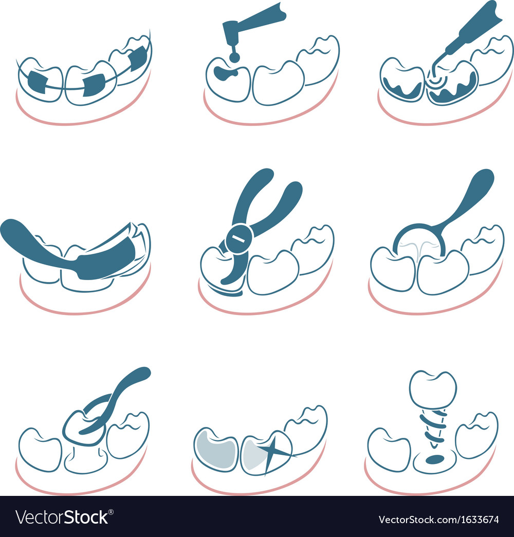 Dental icons set for clinic vector | Price: 1 Credit (USD $1)
