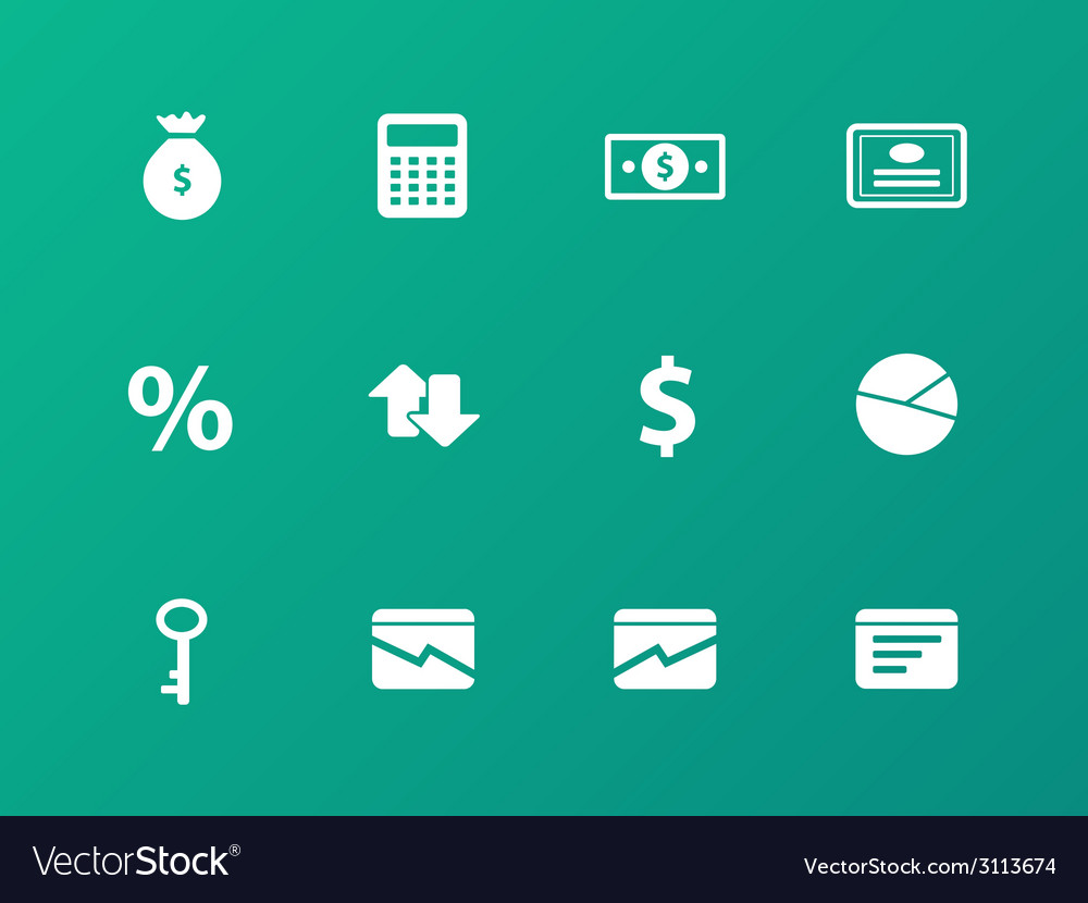 Economy icons on green background vector | Price: 1 Credit (USD $1)