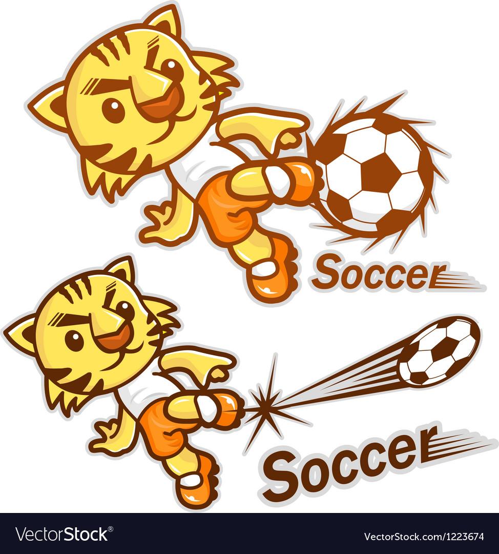 Football player kicking a powerful shot vector | Price: 3 Credit (USD $3)