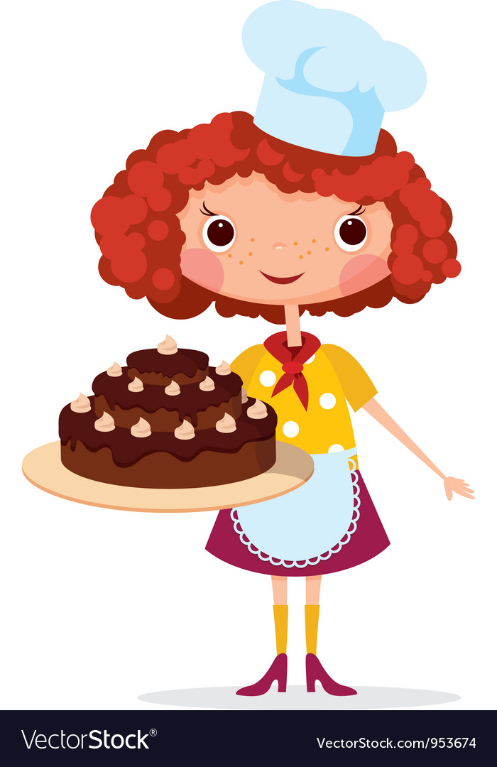 Girl cook with cake vector | Price: 3 Credit (USD $3)