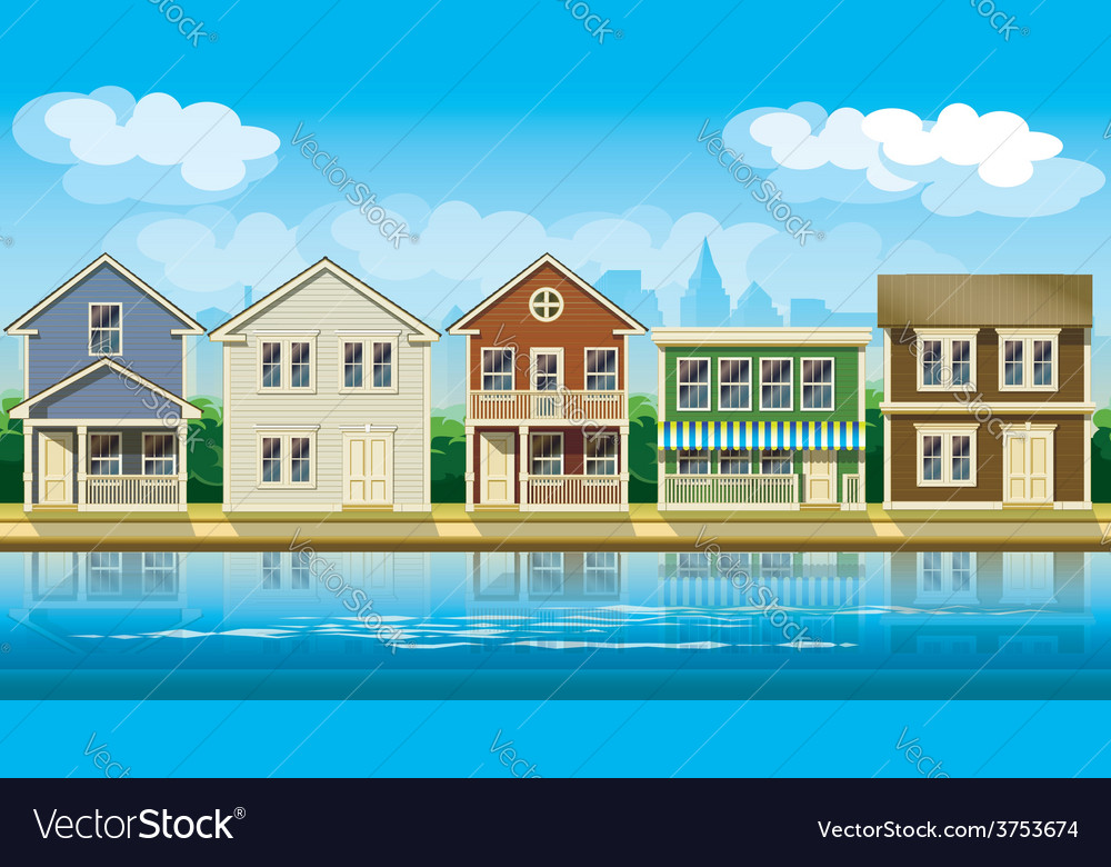 Houses suburb vector | Price: 3 Credit (USD $3)