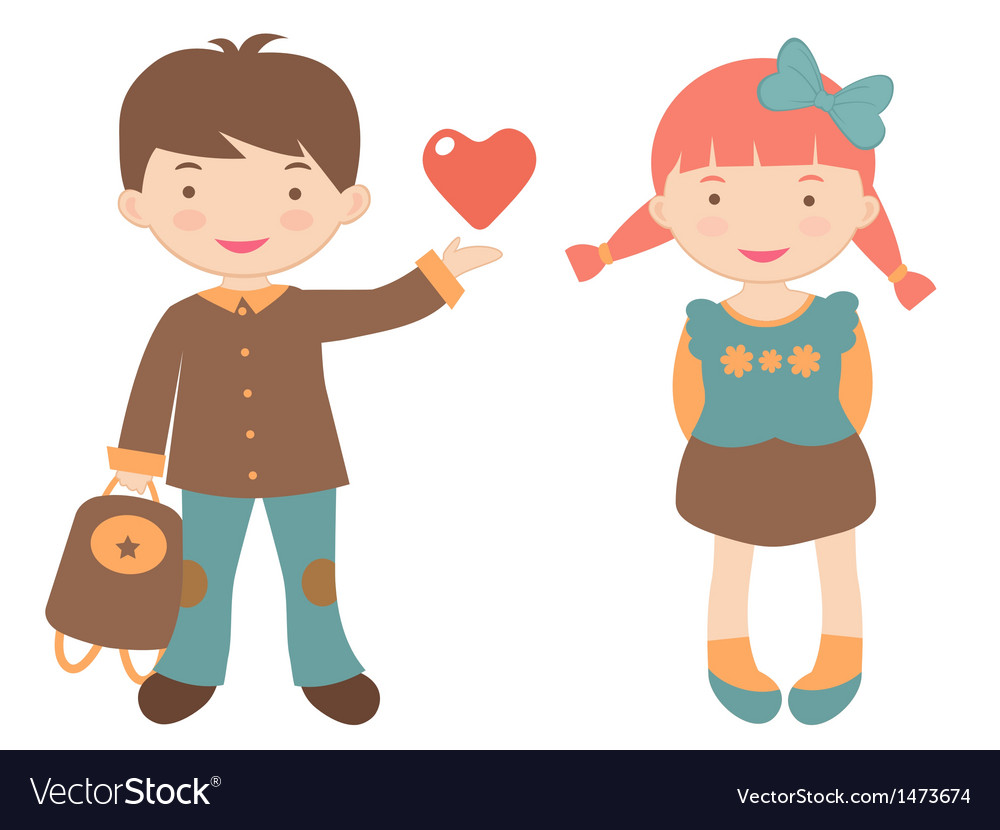 Kids in love vector | Price: 1 Credit (USD $1)