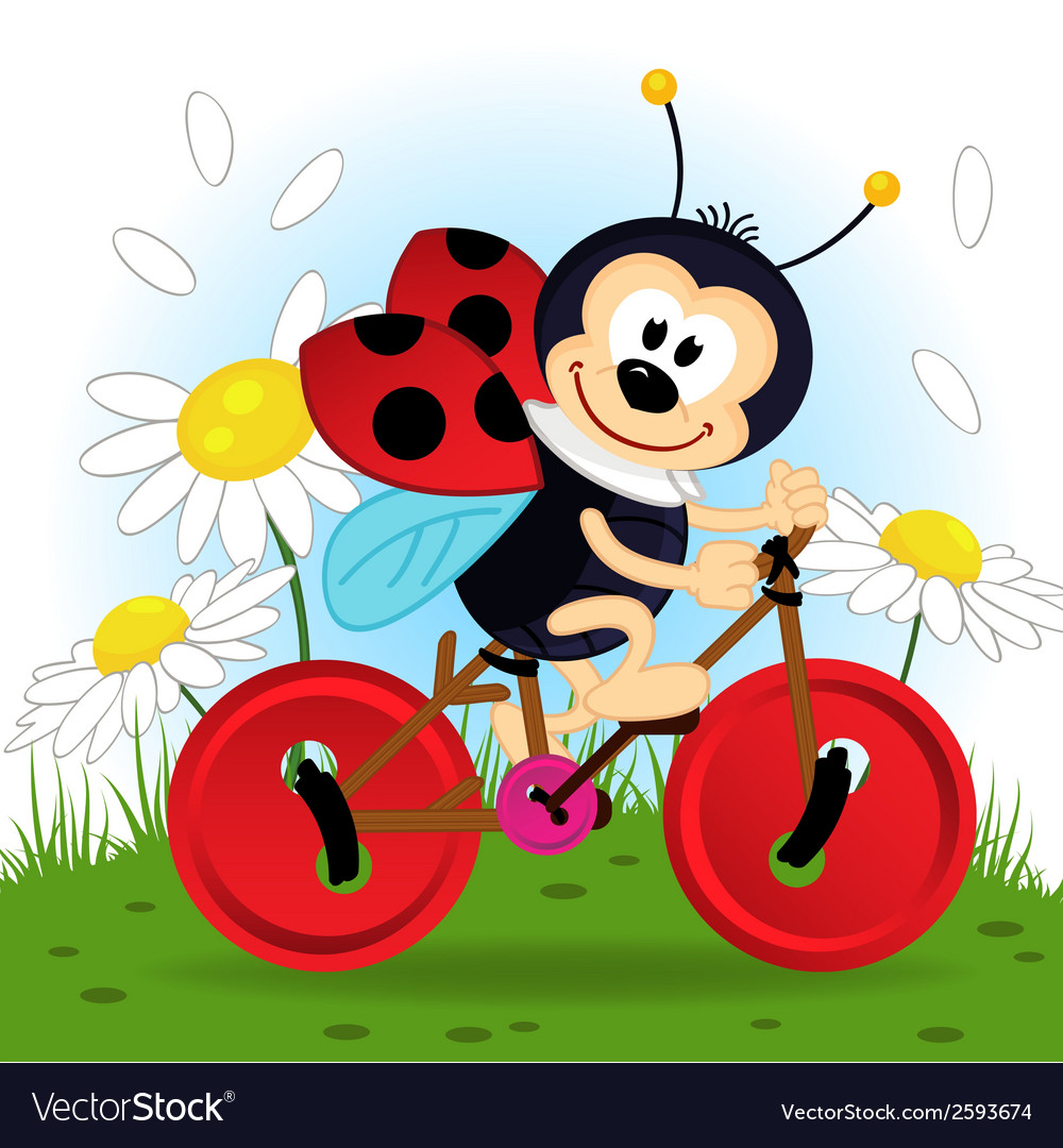 Ladybug on bike vector | Price: 3 Credit (USD $3)